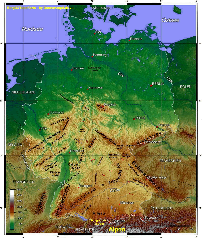 berge in deutschland karte Berge In Deutschland Karte